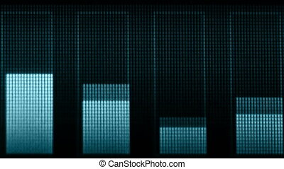 Indicators of volume of different frequencies on the screen