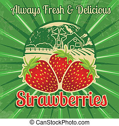 Vintage strawberries poster - Vintage poster template for...
