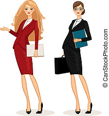 business woman - Successful business woman set vector...
