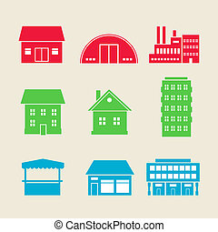 building icons - Set of commercial, residential and...