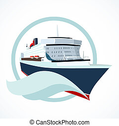 cruise ship - Cruise ship or liner symbol vector...