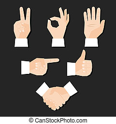 hands set - Set of hands gestures vector illustration