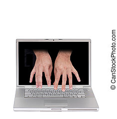 computer remote access - concept image of a laptop with two...