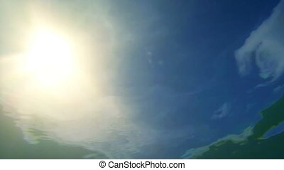 View of the sky and the sun from underwater
