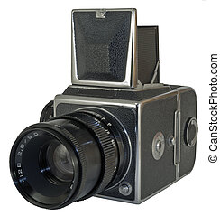 Old photo camera - Old photographic camera with lens close...