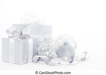 Silver christmas card with gifts and decoration