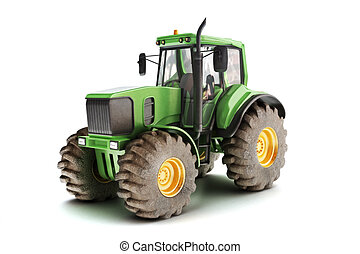 Green tractor isolated on white. 3d model scene
