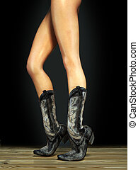 Female legs wearing boots - Long sexy female legs wearing...