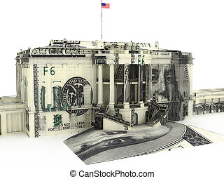 Government spending - The White house textured with $10000...