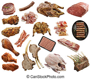 Meat Products - Assortment Of Meat Products Isolated On...