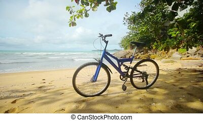 Blue modern mountain bike parked on a tropical beach