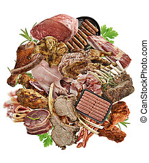 Meat Products - Assortment Of Meat Products On White...