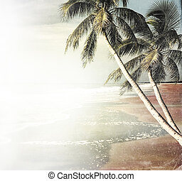 Vintage Tropical Beach Background - Grunge Picture Of...
