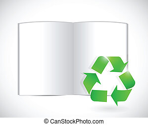 book and recycle symbol illustration design