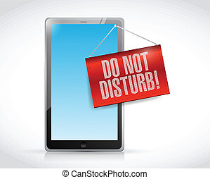 tablet with a do not disturb hanging sign
