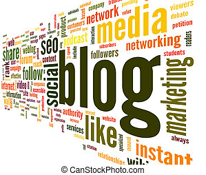 Blog concept in word tag cloud - Blog and social media...