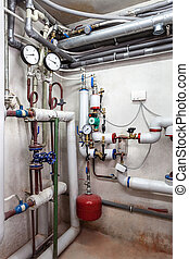 Heating system - Heating pipes system in a boiler room,...