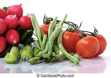 veggies - assortment of vegetables with water drops and...