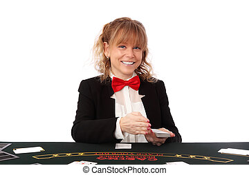 Beautiful casino dealer - Blonde mature casino worker,...