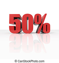 50 percent in red letters - 3D rendering of a 50 percent in...