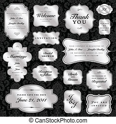 Vector Clipart Silver Seal and Badge Set