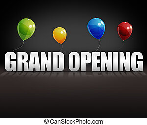 3d Grand Opening Balloons Black Background - Grand opening...