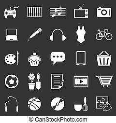 Hobby icons on black background, stock vector