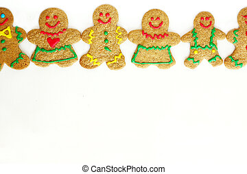 Christmas Gingerbread Cookies in a Row