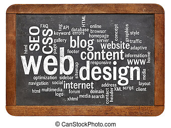 web design word cloud on blackboard - cloud of words or tags...