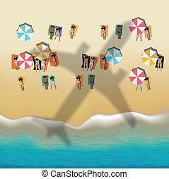 Summer beach with sunbathing people, vector eps10 image.