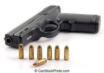 row bullets and gun