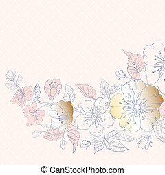 Background of cherry blossoms on pink.