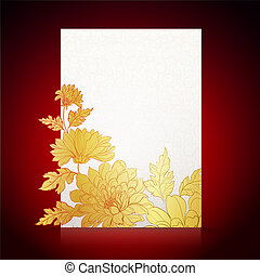 Card background from chrysanthemums - Card on a dark red...