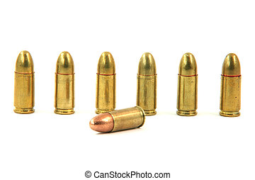 seven bullets isolated on white background weapons ammo