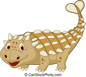 Cute dinosaur ankylosaurus cartoon - Vector illustration of...