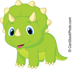 Cute baby triceratops cartoon - Vector illustration of Cute...