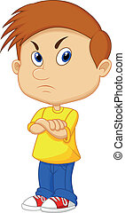 Angry boy cartoon - Vector illustration of Angry boy cartoon...