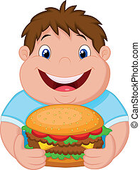 Fat boy cartoon smiling and ready t - Vector illustration of...