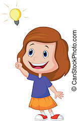 Cartoon Little girl with big idea - Vector illustration of...