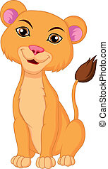 Cute lioness cartoon - Vector illustration of Cute lioness...