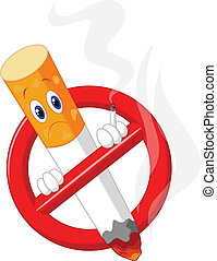 No smoking cartoon symbol - Vector illustration of No...