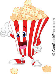 Cute popcorn cartoon with thumb up - Vector illustration of...