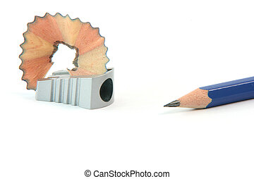 sharpened pencil with savings and sharpener isolated on...