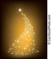 Christmas gold tree with stars