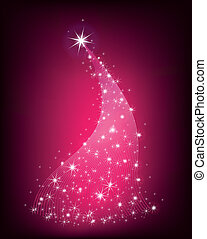 Christmas pink tree with stars