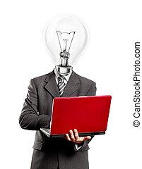 Business Lamp Head Idea Man - Idea concept. Business lamp...