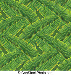 Tropical banana leaves seamless pattern, vector Eps10