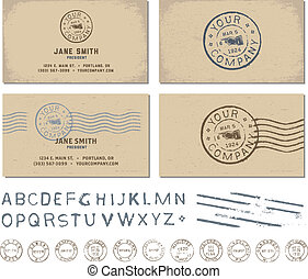 Vector Retro Stamp Business Card Set - Easy to edit Clipart...