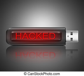 Hacked concept - Illustration depicting a usb flash drive...