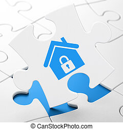 Finance concept: Home on puzzle background - Finance...